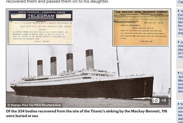 泰坦尼克救援电报曝光:如何保留遗体