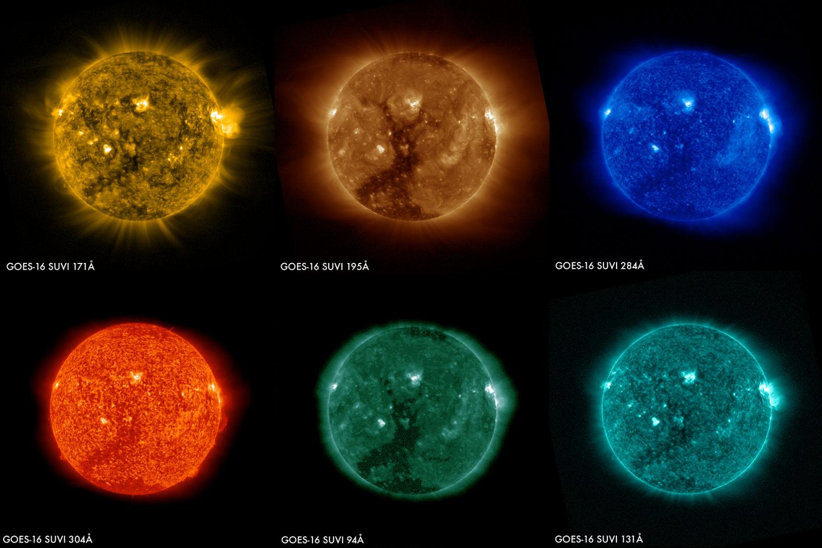 NOAA 的 GOES-16 卫星传回第一批太阳的影像
