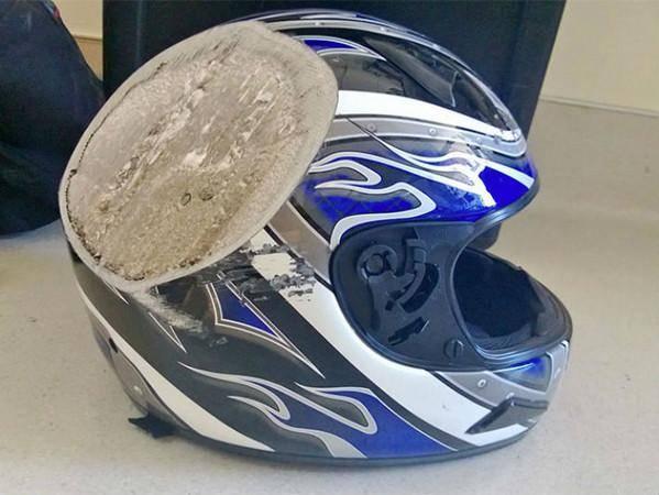 10顶事故后的安全帽,告诉你任何时候都不能脱下头盔